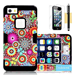 iPhone 5S Case, iPhone 5 Case, Tradekmk(TM) Brand New Hard PC+Silicone Combo Hybrid 3-Piece Waterproof Shockproof Bumper Durable Back Case Cover[Colorful Flowers Pattern] Compatible with Apple iPhone 5/5S/5G[+Stylus+Screen Protector+Cleaning Cloth]-(Black)