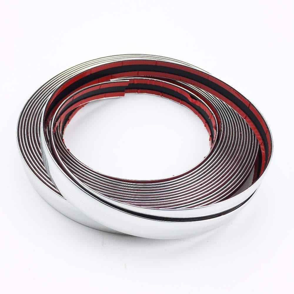 x 8 m color plateado cromado 15 mm Tira de moldeo autoadhesiva para coche 1,5 cm