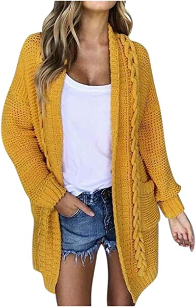 Womens Winter Casual Sweater Jumper Cardigan Chunky Open Front Knitted Tops Coat