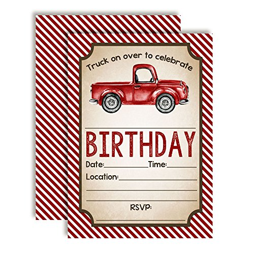 (Watercolor Red Pick Up Truck Birthday Party Invitations for Boys, 20 5