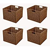 Trademark Innovations BSKT-SQBR-4X Foldable Storage Basket with Iron Wire Frame by (Set of 4)
