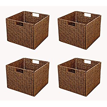 Delightful Trademark Innovations Foldable Storage Basket With Iron Wire Frame By (Set  Of 4), Brown