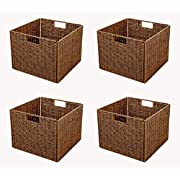 Trademark Innovations Foldable Storage Basket Iron Wire Frame (Set of 4), Brown