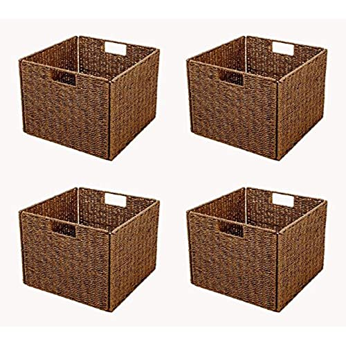 Merveilleux Trademark Innovations Foldable Storage Basket With Iron Wire Frame By (Set  Of 4), Brown