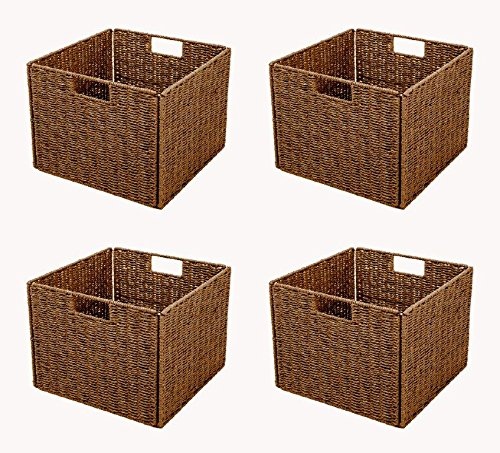Trademark Innovations Foldable Storage Basket with Iron Wire Frame by (Set of 4), Brown -