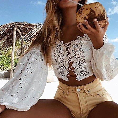 Amazon.com : HOSOME Women Top Women Off Shoulder Long Sleeve Hollow Lace Loose Blouse Tops T-Shirt : Grocery & Gourmet Food