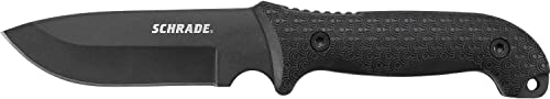 Schrade SCHF51 Frontier 10.9in Steel Full Tang Fixed Blade Knife with 5.1in Drop Point Blade and TPE Handle for Outdoor Survival, Camping and EDC