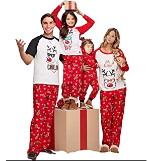 10315a1440 Family Matching Christmas Pajamas Set Deer Tops and Long Pants Sleepwear  for Family