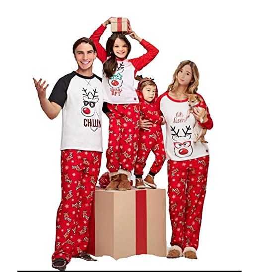 d279715619 Family Matching Christmas Pajamas Set Deer Tops and Long Pants Sleepwear  for Family (9-
