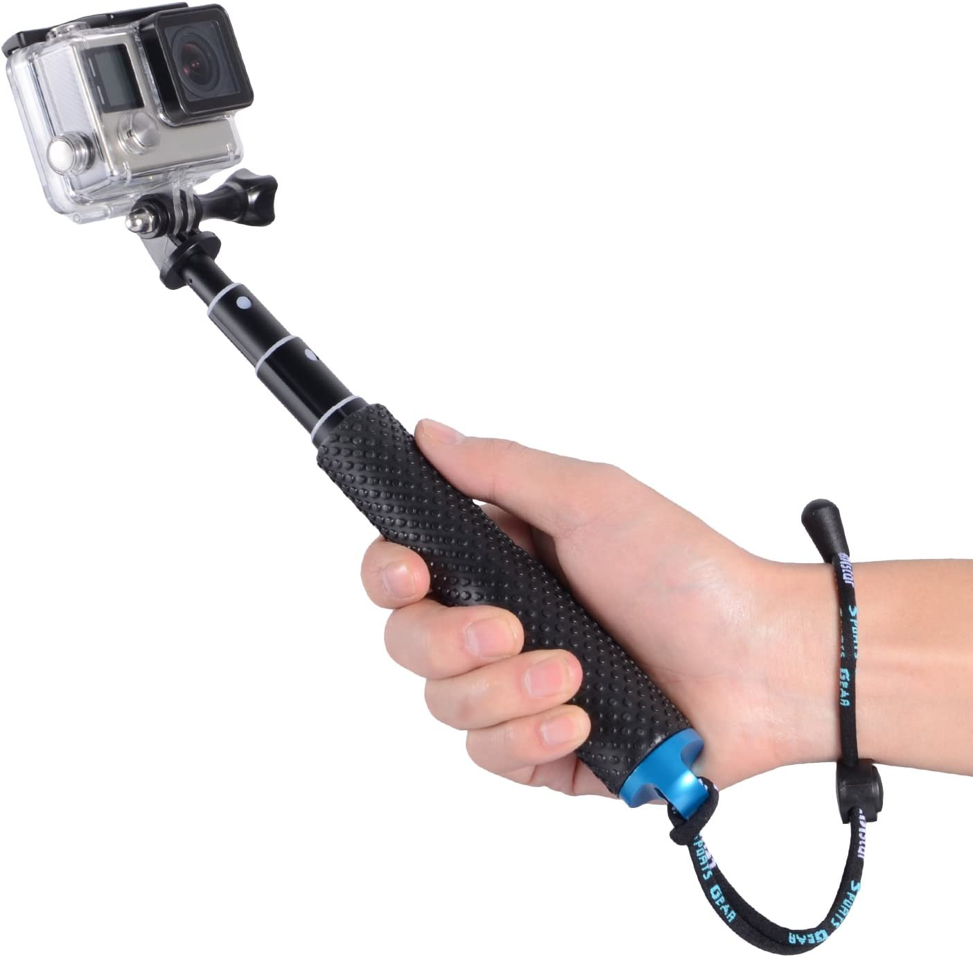 "Trehapuva Selfie Stick AKASO 2018 19/"" Waterproof Hand Grip Adjustable Extension Monopod Pole Compatible With GoPro Hero Hero 7 6 5 4 3+3 2 1 Session Blue Xiaomi Yi,SJCAM SJ4000 SJ5000 SJ6000 More"