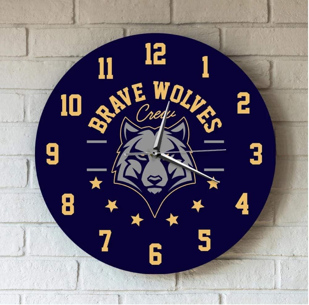 Wangzhongjie Brave Wolves Animal Head Printed Acrylic Wall Clock Cartoon Wildlife Modern Design Quartz Mute Wall Decor Clocks Hanging Watch