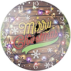 Lulu Decor, Christmas Rustic Round Wood Wall Clock 23.50, in clear arabic numbers, perfect for christmas gift/holiday gift (Merry Christmas)