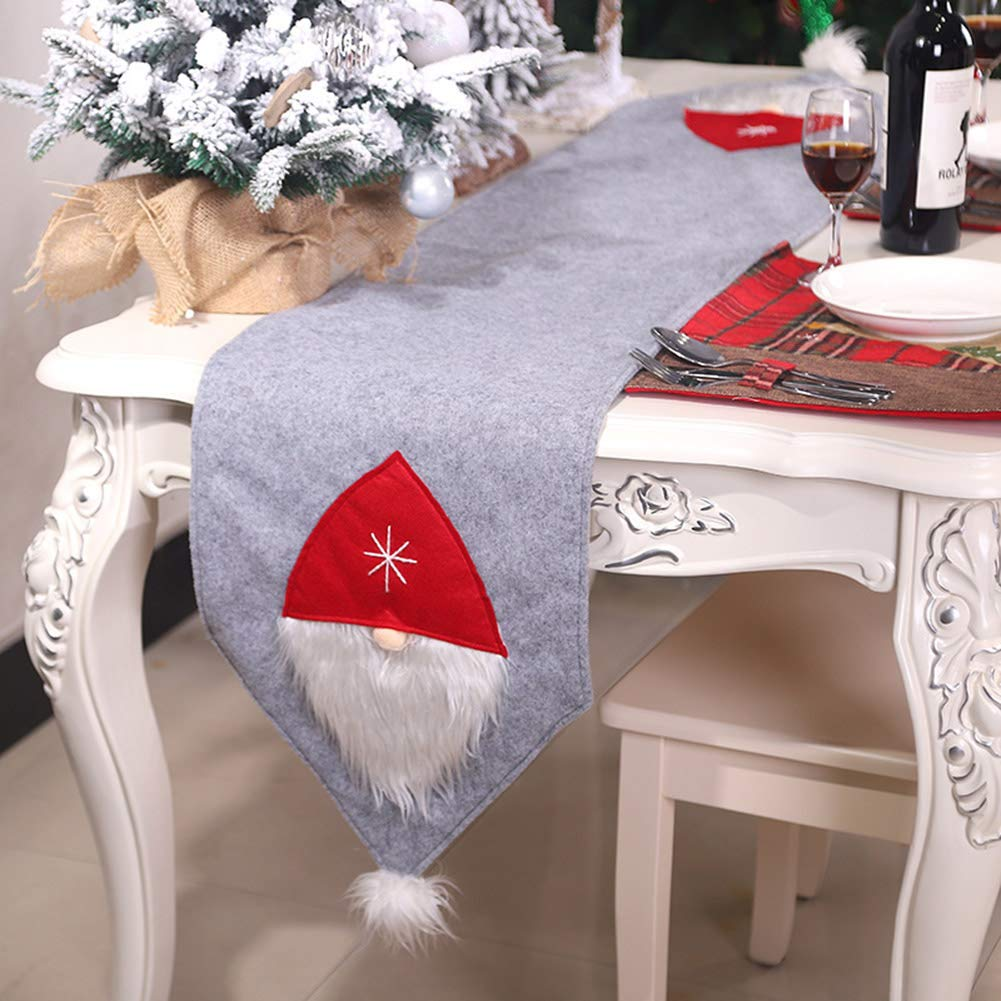 Wukalaka Christmas Table Runner for Family Dinners or Gatherings Christmas Forest Man Table Flag Creative Tabletop Decor Fabric Art for Parties Christmas Holidays Indoor Outdoor