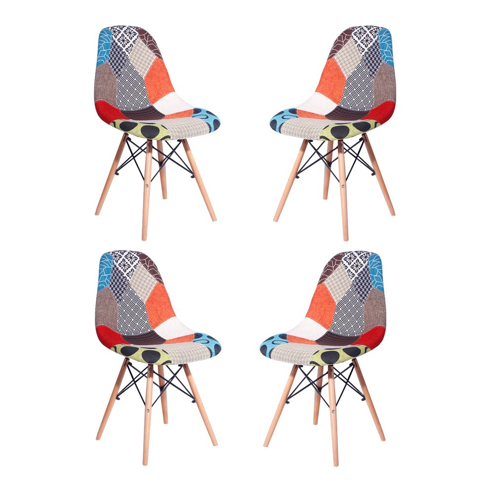 HollyHOME Multicolor Upholstered Eames Style Dining Side Chair with Wood Legs, Mid Century Modern Chair, Set of 4