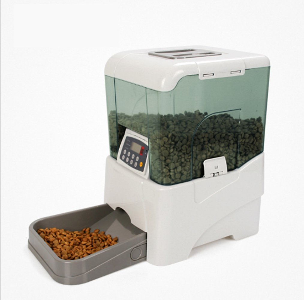Automatic Feeder, PYRUS Remote Control Pet Feeder Electric Dispenser Rechargeable Programming Feeding Device with Large Container/ LCD Panel, Voice Reminding for Cat, dogs, rabbit