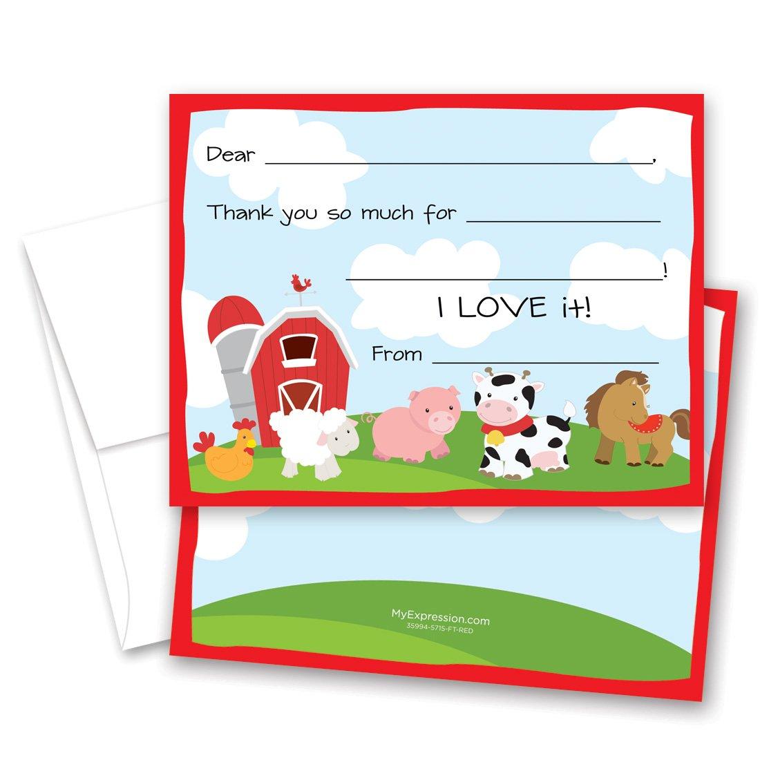 MyExpression.com 20 Barnyard Fill-in Children Birthday Thank You Cards