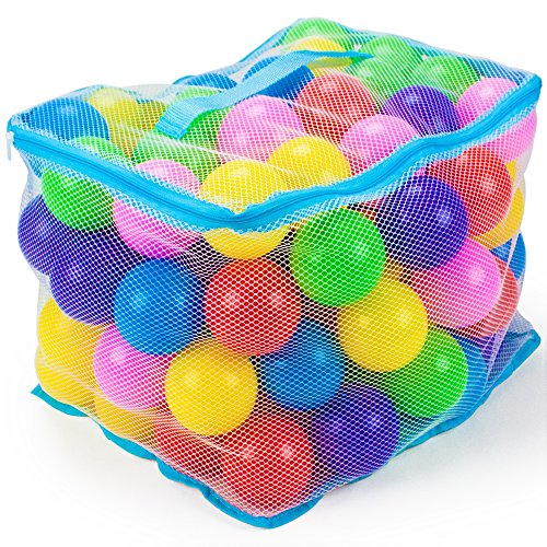 100 Jumbo 3 in Multi-Colored Soft Ball Pit Balls with Mesh Carrying Case by Imagination Generation -