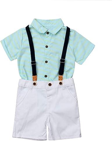 Summer Newborn Toddler Baby Boy Gentleman Clothes Set Pants+Shirt Tops Outfit US