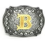 KeCol Adult Mens Initial Letters Western Cowboy Alphabet Rodeo Belt Buckle