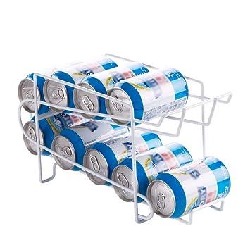 Organizador para bastidor de 2 capas, Estante para almacenamiento de alimentos Caja de almacenamiento para cocina - Refrigerador Bebidas frescas Latas de ...