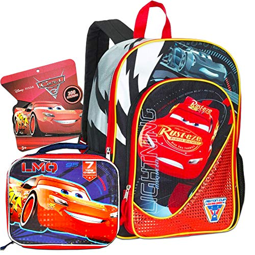 Disney Cars 3 Pc Backpack School Set for Boys Kids ~ Deluxe 16 Inch Disney Cars Backpack with Lunch Box and Stickers (Disney Cars School Supplies)