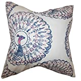 The Pillow Collection QUEEN-d-paboreal-sapphire-c95-l5 Sapphire Ieesha Animal Print Bedding Sham, Queen/20'' x 30''