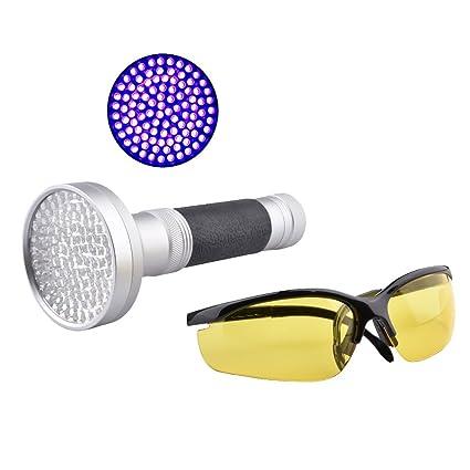 MENEA Linterna UV 100 LED Blacklight con gafas de seguridad UV para mascotas Detector de manchas