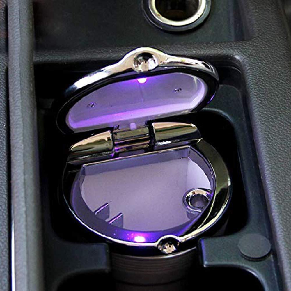 Posa Cenere Auto 2 pezzi Auto Posacenere,Auto Sigaretta Posacenere Posacenere Portatile Sigaretta con la Luce Blu Del LED Holder Senza Fumo Cup