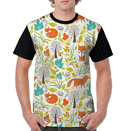 360 Print Pant Fox (Puppylol Wild Fox Wolf With Leaves Flowers Men's Comfort Raglan Short Sleeve Baseball Tees XL)