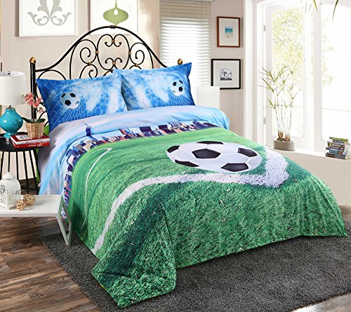 Alicemall Kids Football Bedding 3D Soccer Field and City Scenery Duvet Cover Set 4 Pieces Cotton and Tencel Blended Super Soft Cool Sports Bedding Set, King Size Football Sheets Set (King, Light Blue) by Alicemall (Image #10)