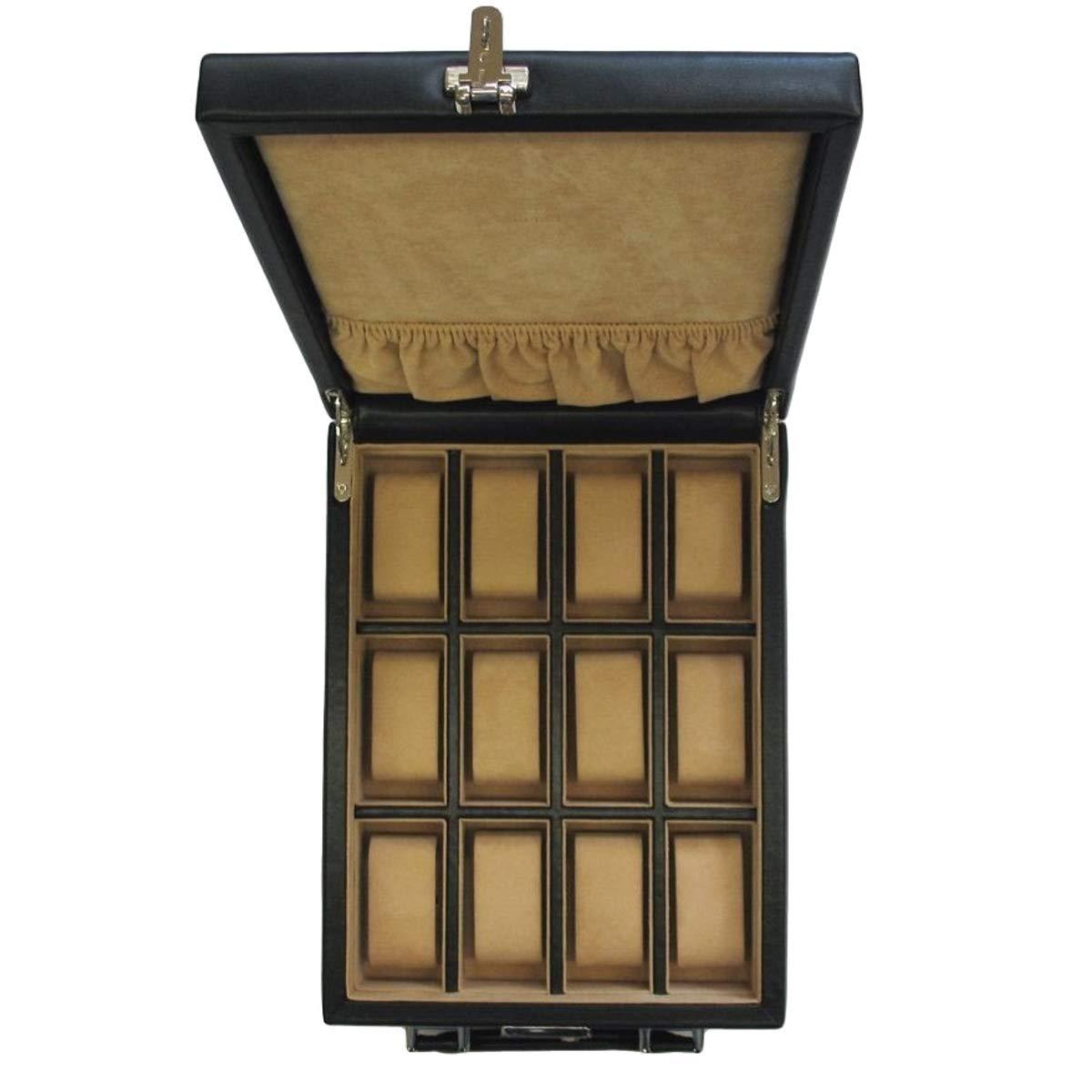 Windrose Ambiance Ambiance Ambiance Uhrenkoffer Uhren-Safe-Koffer für 12 Uhren Schwarz 1102ee