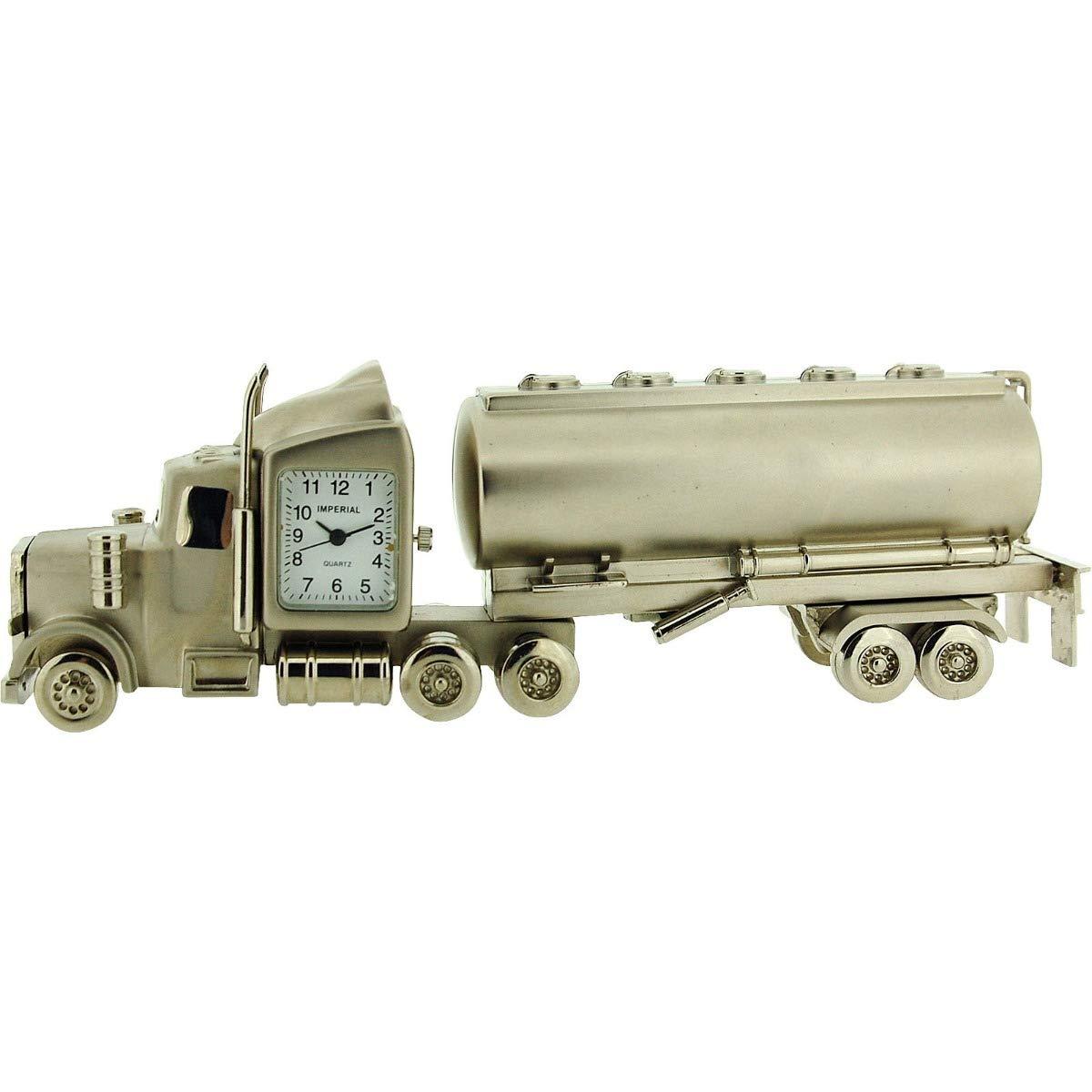 GTP Miniature Oil Tanker Silver Tone Novelty Desktop Collectors Clock IMP1072T