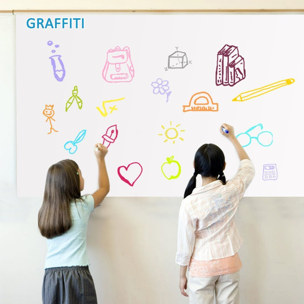 Self-Adhesive Wall Sticker Chalkboard Dry Erase Whiteboard Wall Paper Decals Contact Paper DIY Chalkboard Labels Creative Menu Planning Chalkboard 18'' x 79'' for Home School Office with 1 Pen