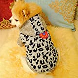 Glumes Pet Clothes, Puppy Hoodie Sweater Dog Coat Fleece Villus Warm Sweatshirt Leopard Print Printed Shirt for Small Dog Medium Dog Or Cat (M, gray)