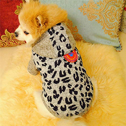 Glumes Pet Clothes, Puppy Hoodie Sweater Dog Coat Fleece Villus Warm Sweatshirt Leopard Print Printed Shirt for Small Dog Medium Dog Or Cat (XS, gray)
