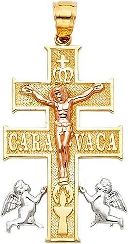 14k Tri Color Gold Religious Cross of Caravaca Pendant