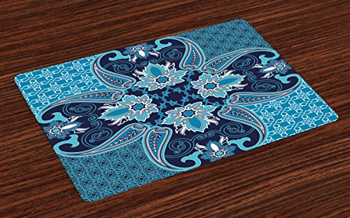 Ambesonne Navy Place Mats Set of 4, Middle Eastern Oriental Persian Pattern with Moroccan Effects Design, Washable Fabric Placemats for Dining Room Kitchen Table Decor, Indigo -