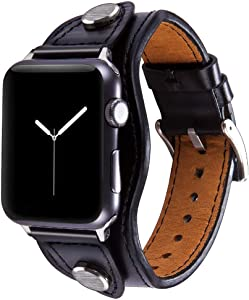 Konafei Compatible with Apple Watch Band 40mm 38mm iwatch Series 6/5/4/3/2/1/SE, Leather Metal Cuff Bracelets Retro Strap for Men Women (Black, 42/44mm)