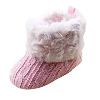 SODIAL(R) Infant Baby Crochet/Knit Fleece Boots Toddler Girl Wool Snow Crib Shoes Booties-S