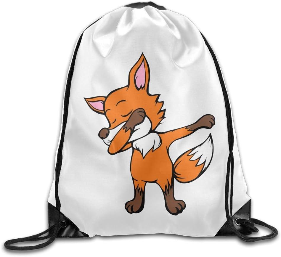 VIMUCIS Dabbing Fox Drawstring Backpack Rucksack Shoulder Bags Training Gym Sack For Man And Women