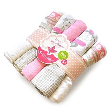 Set de 5 Pañales de tela 100% algodón, reutilizable rosa rosa