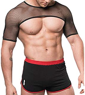 26540a1d9a852c Agoky Men s Sexy Mesh See Through Crop Top Fishnet Muscle T-Shirt Underwear  Clubwear