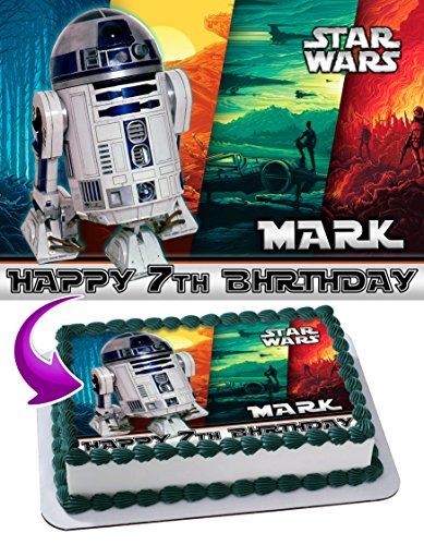 Star War r2d2 Edible Image Cake Topper Personalized