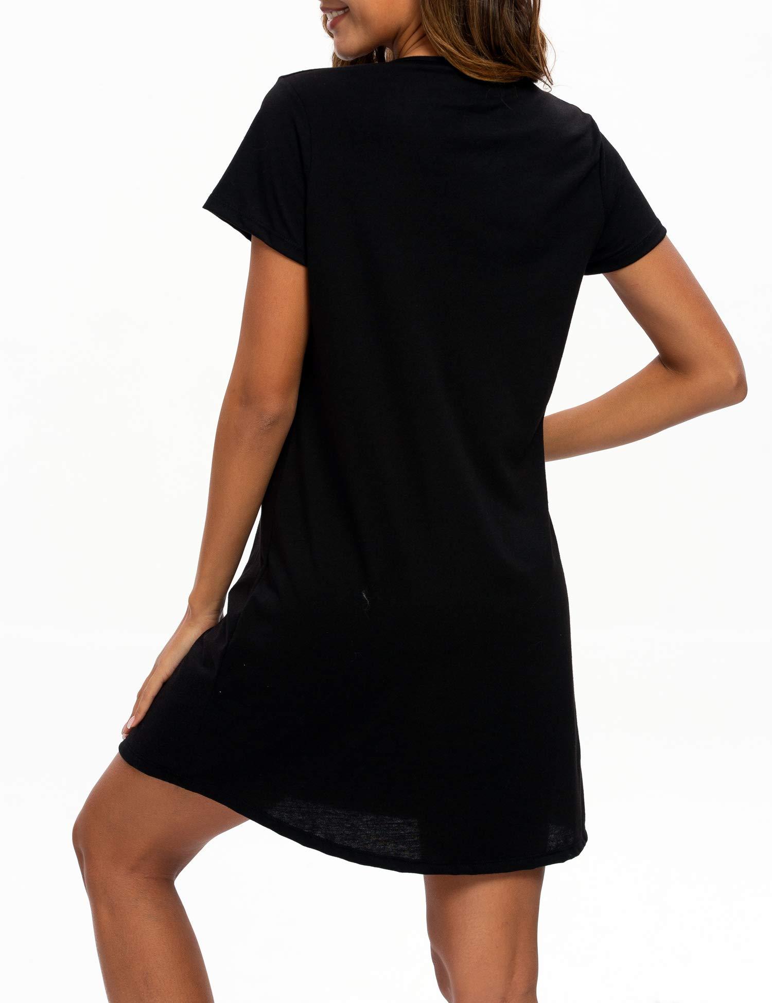 ENJOYNIGHT Womens Cotton Nightgown Short Sleeves Sleepwear Casual Print Sleepshirts (Black, Large/X-Large)