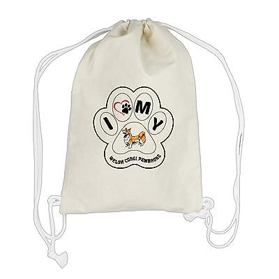 Canvas Drawstring Backpack I Paw My Welsh Corgi Pembroke Dog Style In Print