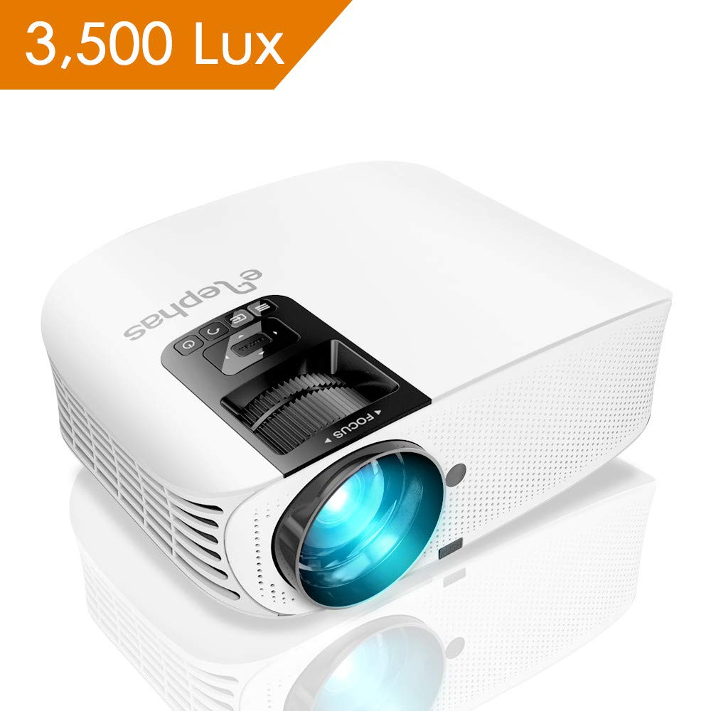 Projector, ELEPHAS 3500 Lumen LED Home Theater Projector with 200'', Support 1080P HD HDMI VGA AV USB Micro SD Video Projector