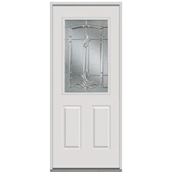 National Door Company Z001099L Fiberglass Mahogany Prehung Left Hand  Inswing Entry Door, Bristol Decorative Glass