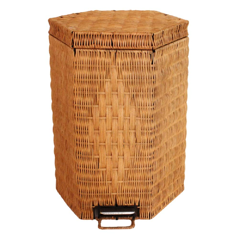 Ayanx 20L Clothes Basket with Lid, Paper Bin Patal in Hexagon Rattan - Brown, Dark Yellow