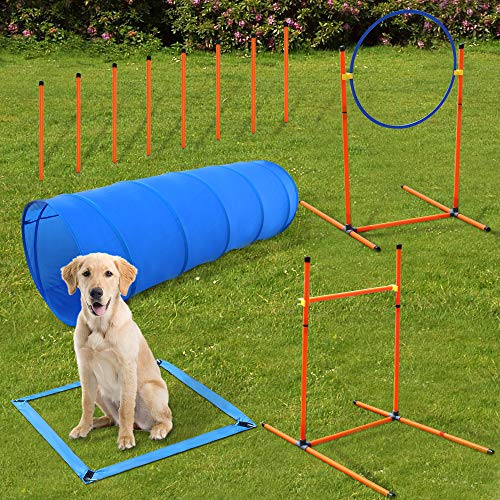 XiaZ Obstacle Dog Agility Training Course, Dog Agility Training Equipment Classes Set - Dog Agility Hurdle, Dog Agility Jump, 8 Pieces Weave Poles, Round Open Tunnel - Dog Tranning Agility Kit