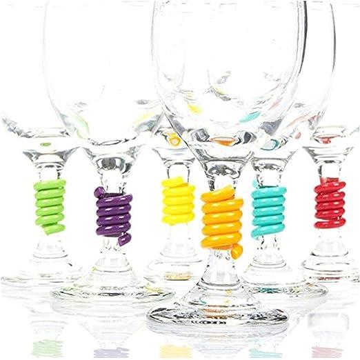 Compra 12 PCS Marcadores de Copas, Tangger Anillo de Copa de Vino Plastico Espiral Etiquetas para Bar Fiesta Todas las Ocasiones, 6 Colores en Amazon.es